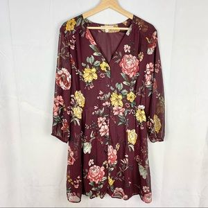 DR2 maroon floral button front babydoll dress